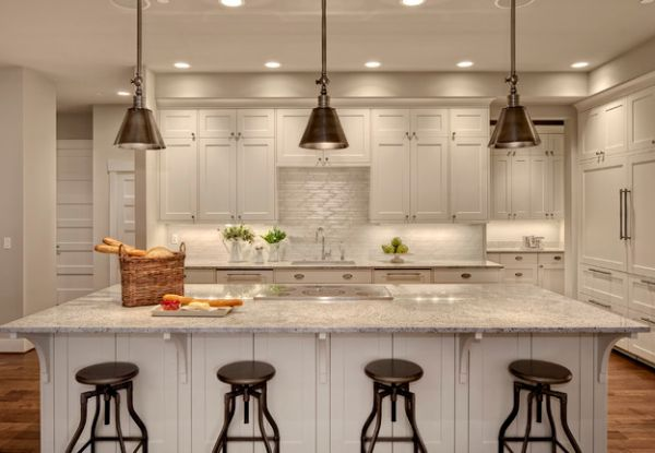 Three Big Kitchen Lighting Over Island