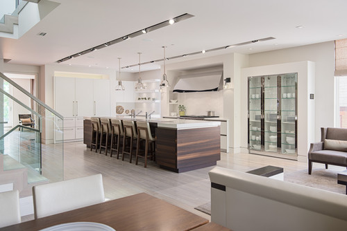 Spacious Contemporary Kitchen Light Fixtures