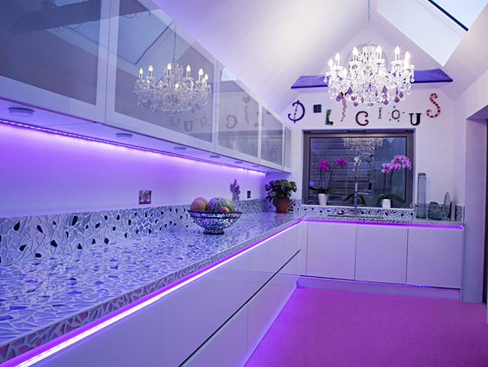 Purple led lights kitchen 2016 for Kitchen led lighting