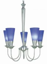 Lite Source LS-10925PS/BLU Monarch 5-Lite Chandelier with Blue Glass Shades, Polished Steel