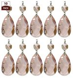 Royal Designs Replacement Chandelier Crystal Prism Pink K9 Quality Tear Drop Almond Cut with Polished Brass Connectors and a Pink Octogan Crystal Bead Pack of 10