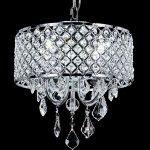 Top Lighting Chrome 4-Light Round Crystal Chandelier Pendant Ceiling Fixture