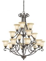Kichler Lighting 43234OZ Camerena 16-Light 3-Tier Chandelier with Light Umber Inside Tint Shades and White Scavo Glass, Olde Bronze Finish, 1-Pack