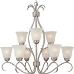 Maxim Lighting 10128ICSN Basix 9-Light Chandelier, Satin Nickel with Ice Glass