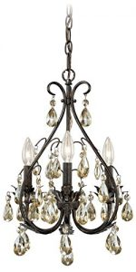 Vaxcel H0035 Alicia 3 Light Chandelier, Mini, Gold Flake Bronze Finish