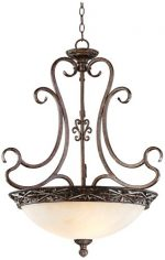 French Bronze Scroll 26″ Wide Pendant Chandelier