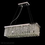 Dst Modern Luxury Rain Drop Rectangle Clear K9 Crystal Chandelier Ceiling Lights with 5 Lights for Living Room Bedroom or Study Room L31.5″ X W10″ X H8.8″