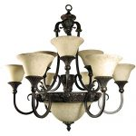 Yosemite Home Decor F023A12SB Verona 12 Light Chandelier, Honey Parchment Glass Shades, Sienna Bronze Finished Frame, 35″ x 32″