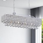 Jojospring Jolie Silver 5-light Rectangular Crystal Chandelier
