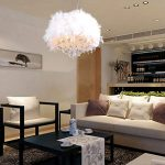12-Inch Feather Chandelier with 1 Lights,With Soft White LED Filament Bulb, fashion Pendant Light for Home Lighting,Shop Lighting and Hotel Lighting