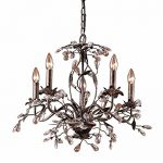 Elk 8053/5 5-Light Chandelier In Deep Rust and Crystal Droplets