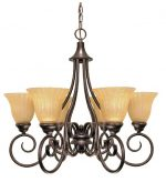 Nuvo Lighting Moulan 6-Light Chandelier with Fluted Cream Bell Shades, Copper Bronze