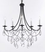 Wrought Iron Chandelier Chandeliers Lighting H22.5″ X W26″ Trimmed with Spectra ™ Crystal – Reliable Crystal Quality By Swarovski! Swag Plug In-chandelier w/ 14′ Feet of Hanging Chain and Wire!