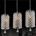Gracelove Modern Crystal Ceiling Light Pendant Lamp Fixture Lighting Chain Chandelier (Including 2 Bulbs)