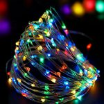 BRIGHT ZEAL 33′ Long Multicolor LED STRING LIGHTS (White Wire, TIMER, BATTERY Operated & Included, 100 LEDs) – LED Starry STRING LIGHTS Fairy Lights – LED Battery String Lights – HOME Decor 50140N