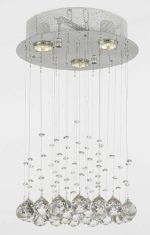 Modern Chandelier Rain Drop Lighting Crystal Ball round Fixture Pendant Ceiling Lamp, H18 X W12, 3 Lights,