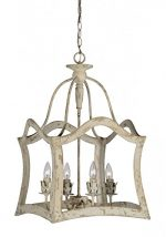 Wood Framed Aged Aubrey Chandelier Antique Style Light