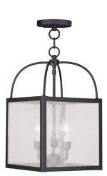 Livex Lighting 4055-07 Milford 3-Light Convertible Hanging Lantern/Ceiling Mount, Bronze
