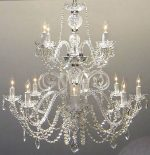 Authentic All Crystal Chandelier Lighting Chandeliers H30″ X W28″
