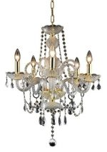 Elegant Lighting 7835D20G/RC Princeton 22-Inch High 5-Light Chandelier, Gold Finish with Crystal (Clear) Royal Cut RC Crystal