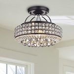 Jojospring Jolie Antique Black Drum Shade Crystal Semi Flush Mount Chandelier