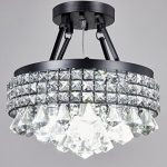 New Legend Lighting 4-light Crystal Semi-flush Mount Chandelier with Antique Black Iron Shade