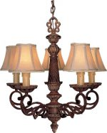 Minka Lavery 955-126, Belcaro Candle 1 Tier Chandelier Lighting, 5 Light, 300 Total Watts, Walnut