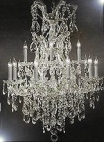Maria Theresa Swarovski Crystal Trimmed Chandelier Lighting Chandeliers H35″ X W28″