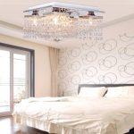 Y&LModern/Contemporary Crystal Ceiling Light with 5 lights Chrome Flush Mount H=8″ W=12″ L=12″