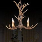 EFFORTINC Vintage Style Resin Antler Chandelier 4 Lights,Living room,Bar,Cafe, Dining room, Bedroom,Study,Villas,American Retro Deer Horn Pendant Lights