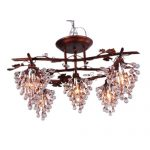 Wrought Iron Chandeliers Lighting Pendant Lamp Fashion Ceiling Lights Led Light Source Flower Rose Contemporary Garden Lamps Restore Grape Lamp