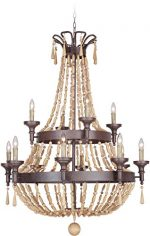 Jeremiah 36812-AG Berkshire 12 Light Chandelier with Unfinished Light Wood Beads, Aged Bronze Textured