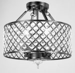 New Galaxy 4-light Antique Black Round Metal Shade Crystal Chandelier Semi-Flush Mount Ceiling Fixture