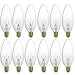 Sunlite 25CTC/32/E14/12PK 25W Incandescent Torpedo Tip Chandelier with Crystal Clear Light Bulb and European E14 Base (12 Pack)