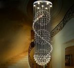 "Getop Diameter 19.7"" * Height 59.1"" (D50*h150cm) 6 Lights (3w Gu10 Led) Round Ball-shaped K9 Crystal Lamps Modern Chandelier Large Stair Lighting"