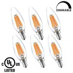LIGHTSTORY LED Candelabra Bulb Dimmable, E12 base 6W 2700K 600 Lumen B10 Candle LED Bulb, 60W Equivalent LED Chandelier Bulb, UL Listed (6 Pack)