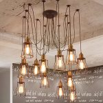 Aisini Edison Multiple Ajustable DIY 12 head Ceiling Spider Lamp Light Pendant Lighting Chandelier Modern Chic Industrial Dining
