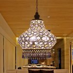 Injuicy Lighting S Size The Mediterranean Stytle K9 Blue Crystal Lamp Pendant Chandelier Ceiling Lighting (White)