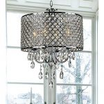 4-light Round Hanging Crystal Chandelier Pendant Ceiling Fixture, Chrome Finish