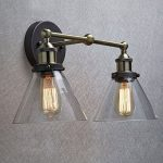 CLAXY Ecopower Simplicity Industrial Edison Antique Glass 2-Light Wall Sconces Fixture