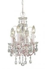 Paris Flea Market 4LT Mini-Chandelier, Blush Finish and Clear Hand Cut Crystal