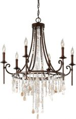 Feiss F2660/6HTBZ, Cascade Crystal 1 Tier Chandelier Lighting, 6 Light, 360 Watts, Bronze