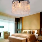 LightInTheBox Modern White Shell + Crystal Home Ceiling Light Fixture Flush Mount, Pendant Light Chandeliers Lighting for Bedroom, Living Room