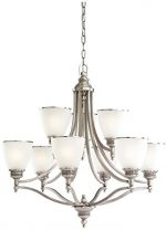 Sea Gull Lighting 31351-965, Laurel Leaf Glass 2 Tier Chandelier Lighting, 9LT, 135W, Nickel