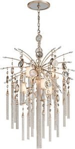 Corbett 162-47, Bliss Large Glass 2 Tier Chandelier Lighting, 7 Light, 120 Watts, Topaz Leaf