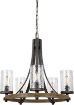 Feiss F3133/5DWK/SGM, Angelo Chandelier, 5 Light, 300 Total Watts, Distressed Weathered Oak / Slate