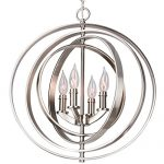Revel Orbits 18″ 4-Light Modern Sphere/Orb Chandelier, Brushed Nickel Finish