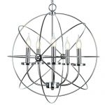 Electro_BP Rustic Barn Metal Spherical Chandelier Max 300W With 5 Light Chrome Finish