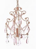 Wrought Iron and Crystal 1 Light Chandelier Pendant Pink Lighting Ceiling Lamp Hardwire and Plug In Perfect for Kid's Girl's Room