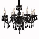 LightInTheBox Black Crystal Chandelier with 8 Lights Modern Home Ceiling Light Fixture Flush Mount, Pendant Light Chandeliers Lighting, Voltage=110-120V